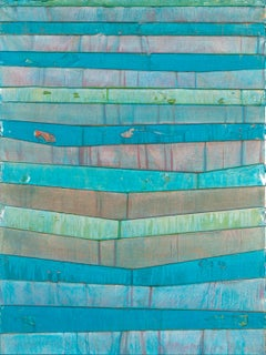 AQUAMARINE 1 - blue and green horizontal linear abstract painting