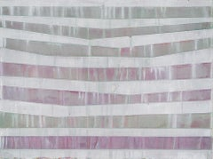 INTO WHITE - off-white and purple horizontal linear abstract painting