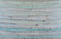 ORILLA - light green and blue horizontal linear large abstract painting