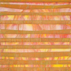 VICTORIA - orange and yellow horizontal linear abstract painting