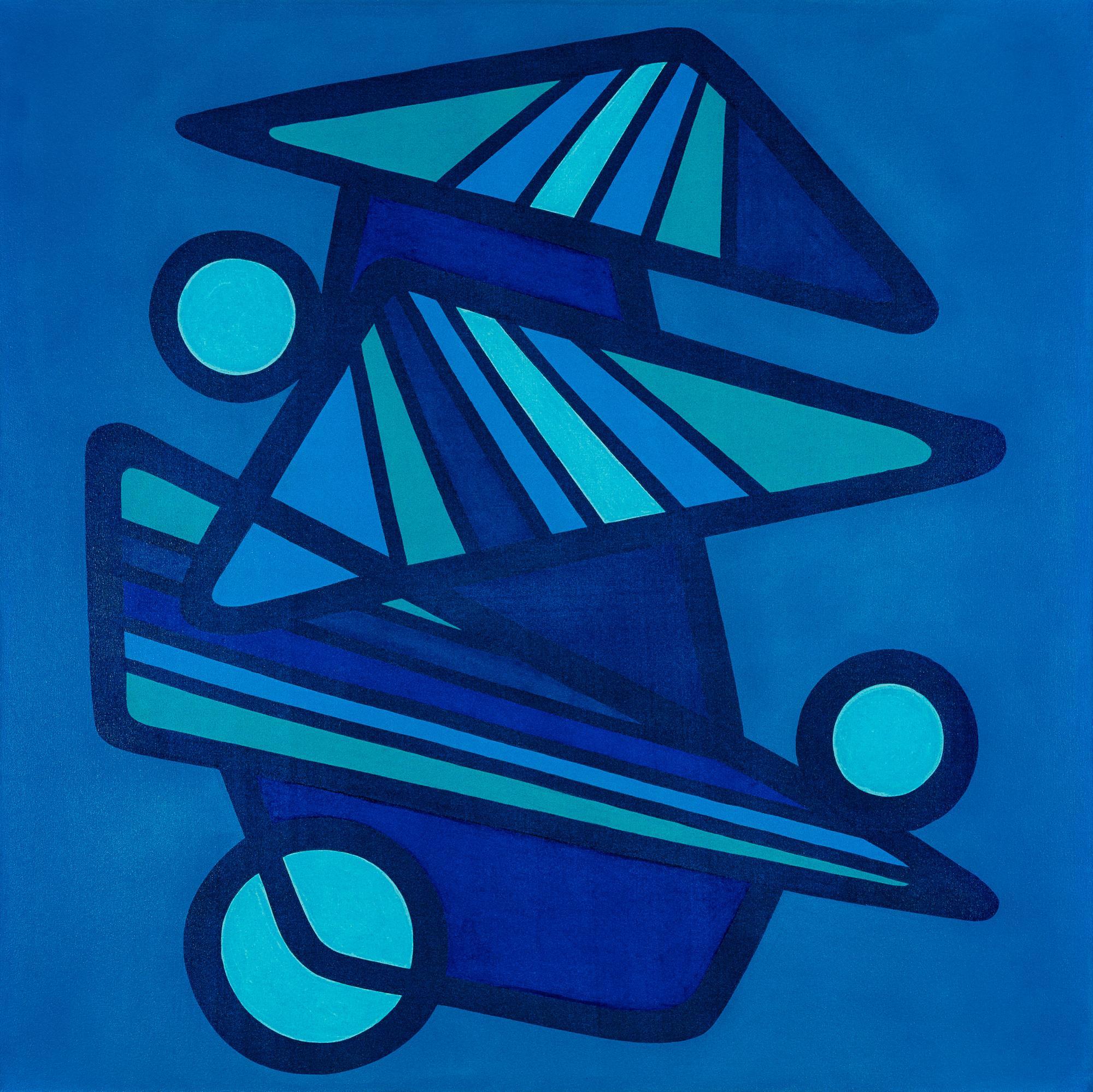 BARANADA BLUES #3 - blue geometric abstraction