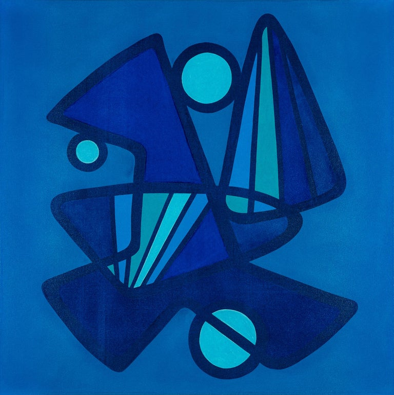 Juan Alonso-Rodríguez Abstract Painting - BARANADA BLUES #5 - blue geometric abstraction