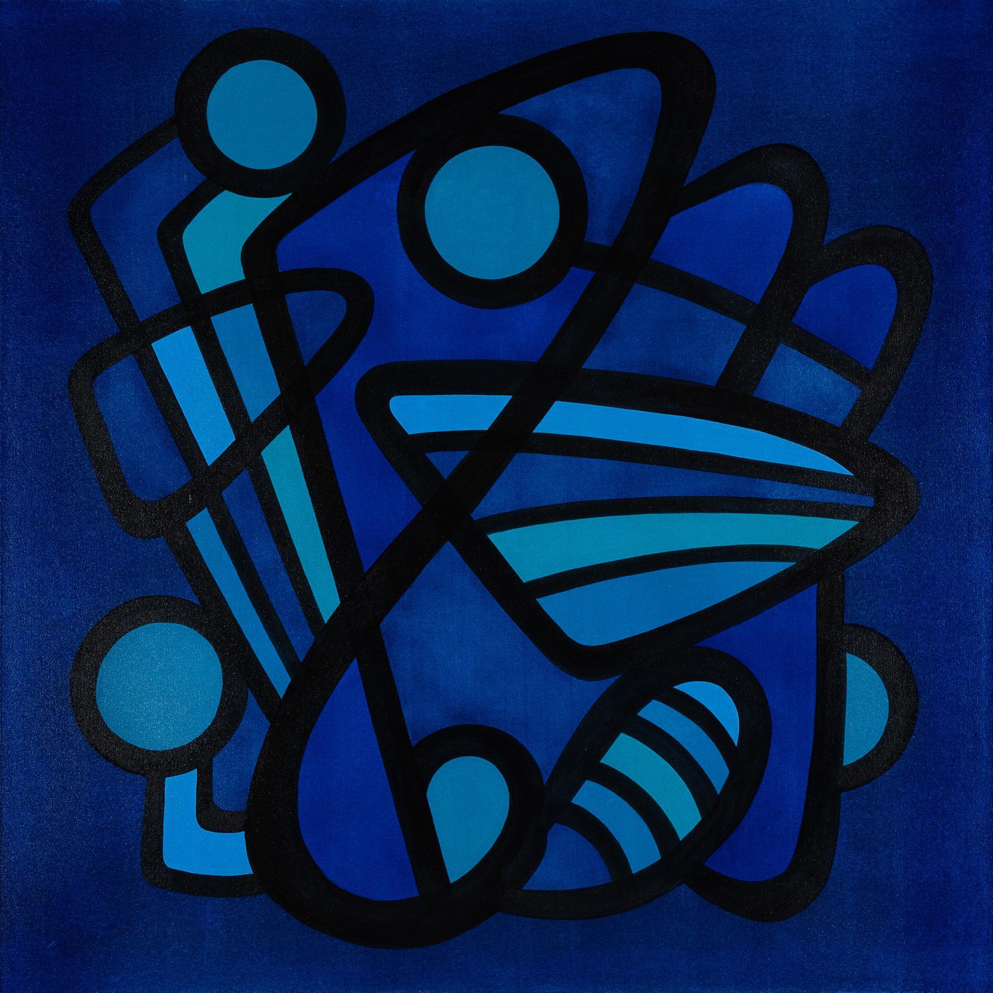 BARANADA BLUES #6 - blue geometric abstraction