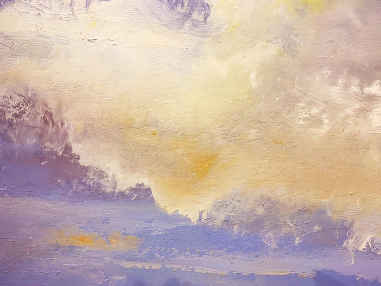 Day Meets Night - Gray Landscape Painting by Gina Rossi