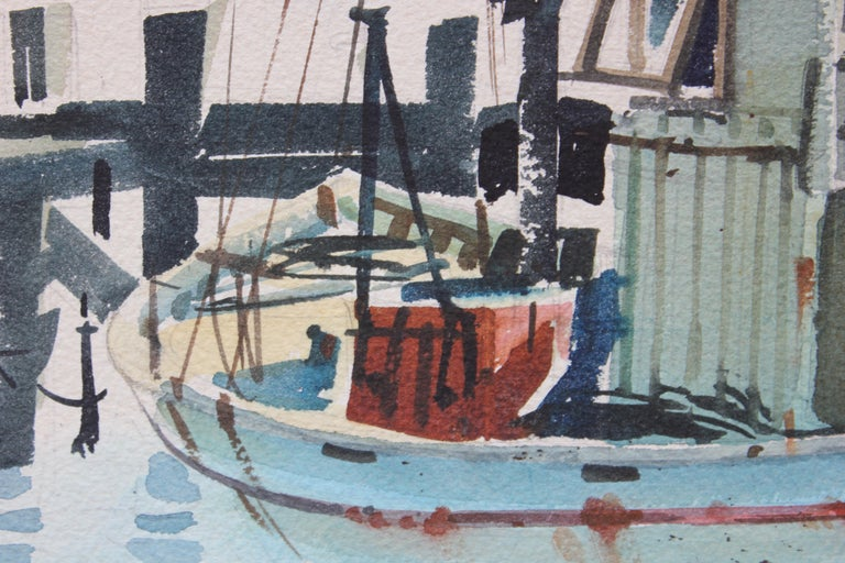 Realistic Watercolor Dock Scene with Fishing Boats - Impressionist Painting by Al Barnes