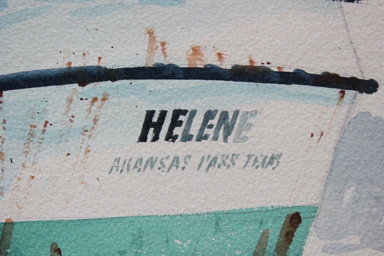 Lovely watercolor of two boats, one red named Little Mitch and one teal named Helene, at a dock by Al Barnes in the 1970's. Unframed. Signed in lower right corner.   Artist biography: Al Barnes was born in 1937 in Cuero, Texas and passed away in