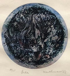 Leda - Blue and Black Abstract Color Etching Lithograph Edition 4/20