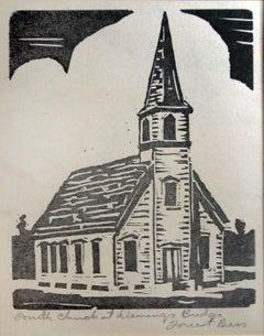 Fourth Church at Deming's Bridge - Linocut Print