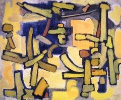 """""""Yellow Landscape"""" Cubist Expressionist Landscape Painting"""