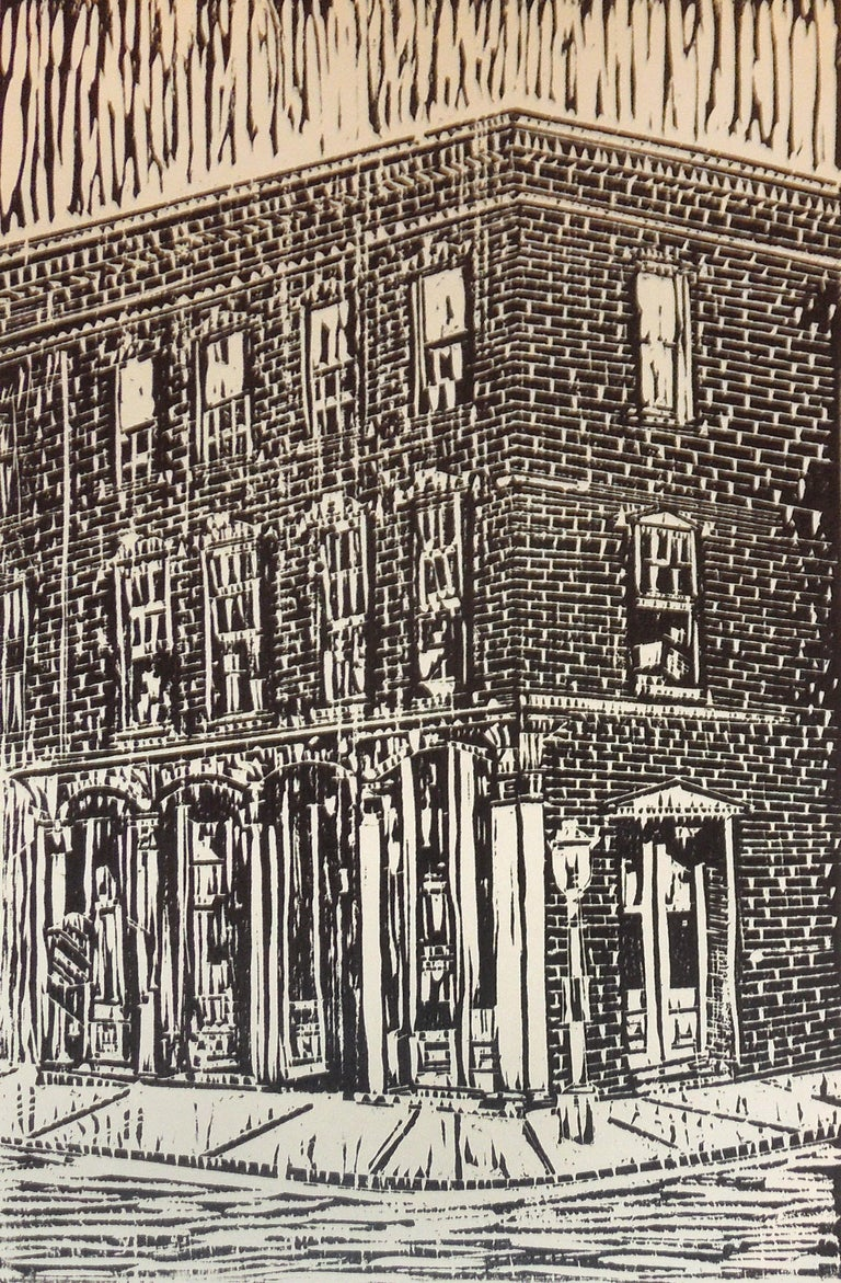 Lowell Daunt Collins Still-Life Print - Architectural Street View of a Tall Building