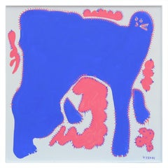 The Daboji - Large Yves Klein Blue and Coral Non-Objective Creature Abstract