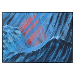 """Promises Kept"" Large Blue Tonal Surrealist Painting"