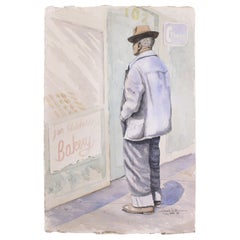 Man In Front of Bakery Store Front