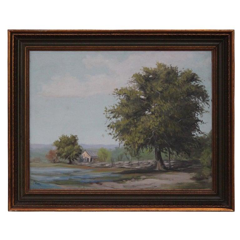 Napper Landscape Painting - Texas Bluebonnet Pastoral Landscape