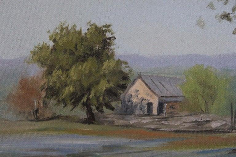 Texas Bluebonnet Pastoral Landscape - Naturalistic Painting by Napper