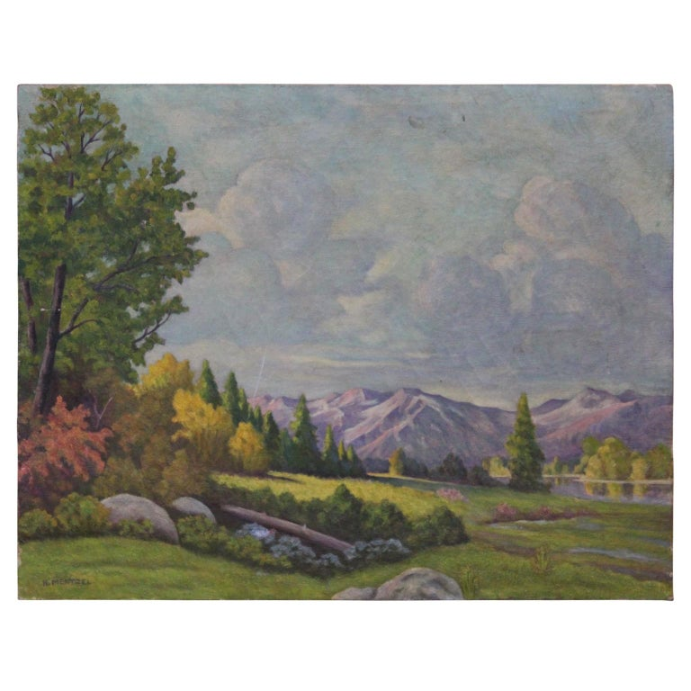 H. Mentzel Landscape Painting - Idyllic Pastel Landscape