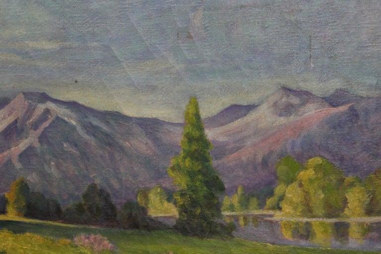 Idyllic Pastel Landscape - Gray Landscape Painting by H. Mentzel