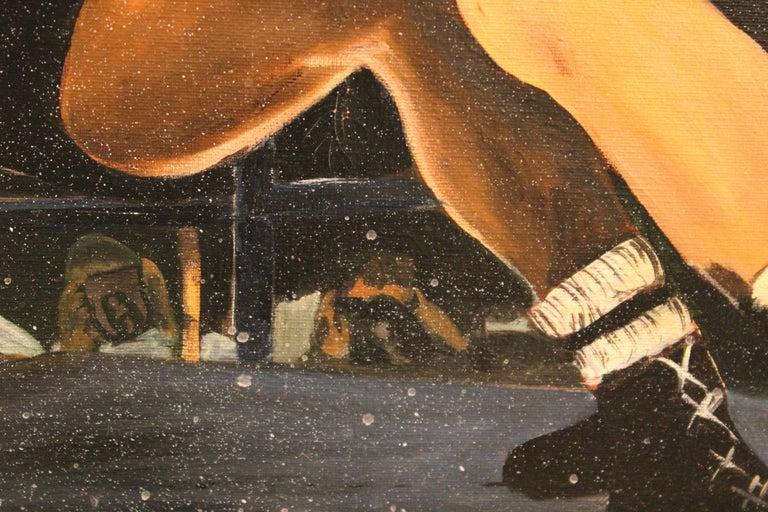 Boxing Match- Ingemar Johansson vs Floyd Patterson - American Realist Painting by Ferine Bruun