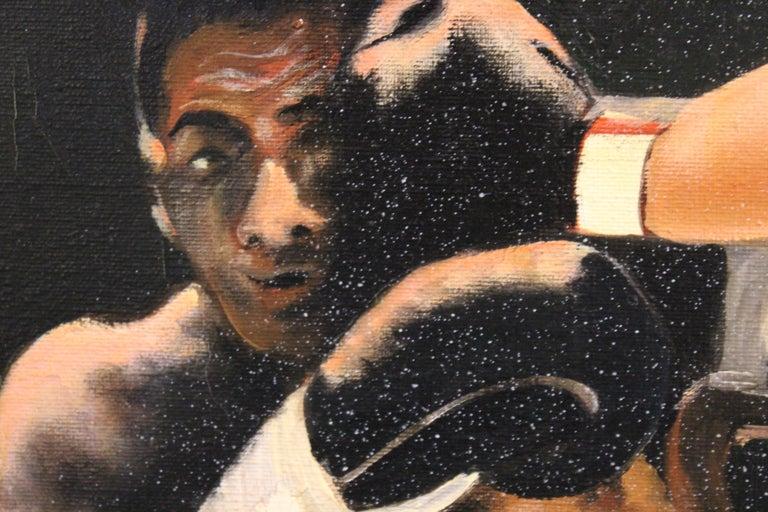 Boxing Match- Ingemar Johansson vs Floyd Patterson - Black Figurative Painting by Ferine Bruun