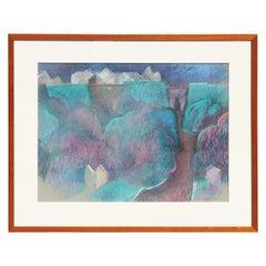 Teal Toned Pastel Landscape