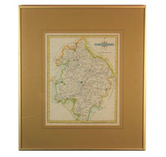"""Warwickshire Hand Painted Map Engraving from """"New and Correct English Atlas"""""""