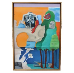 Surrealist Still Life with Skeletal Bust