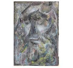 """Grey Prophet"" Expressionist Impasto Painting"