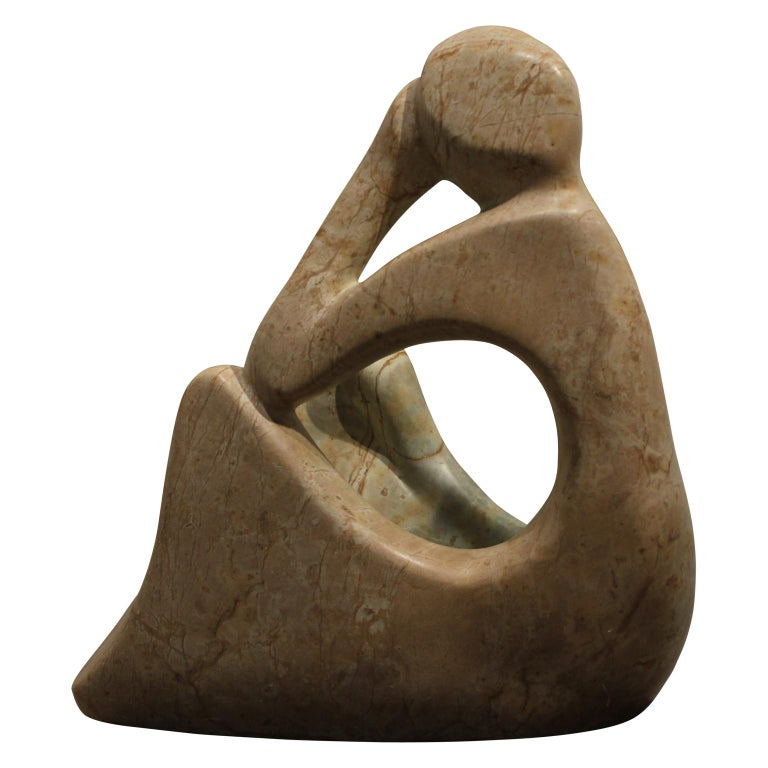 Thinking Figure of a Woman  - Brown Figurative Sculpture by Jose Zacarias