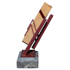 """After the Beginning and Before the End"" Wood and Metal Geometric Sculpture"
