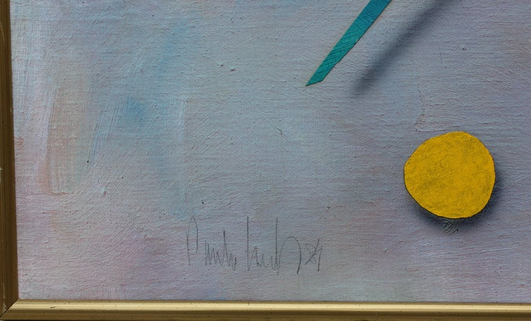 Blue and purple toned surrealist still life with various shapes along the canvas. Canvas is framed in a gold frame.  Dimensions without Frame: H 47 in x W 59 in x D .5 in.  Biography of Artist the Work is in the Style of: Paule Vézelay was a British
