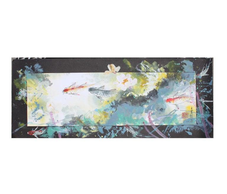 David P. H. Wong Animal Painting - Colorful Mixed Media Koi Fish