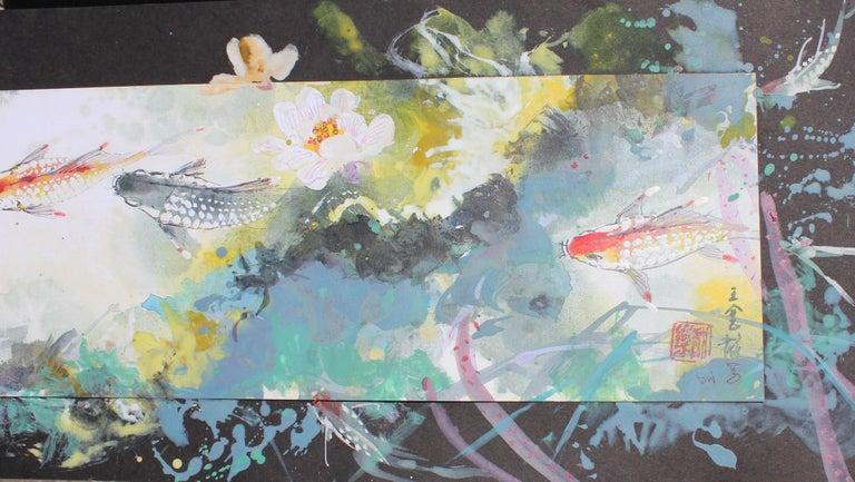 Colorful Mixed Media Koi Fish - Painting by David P. H. Wong