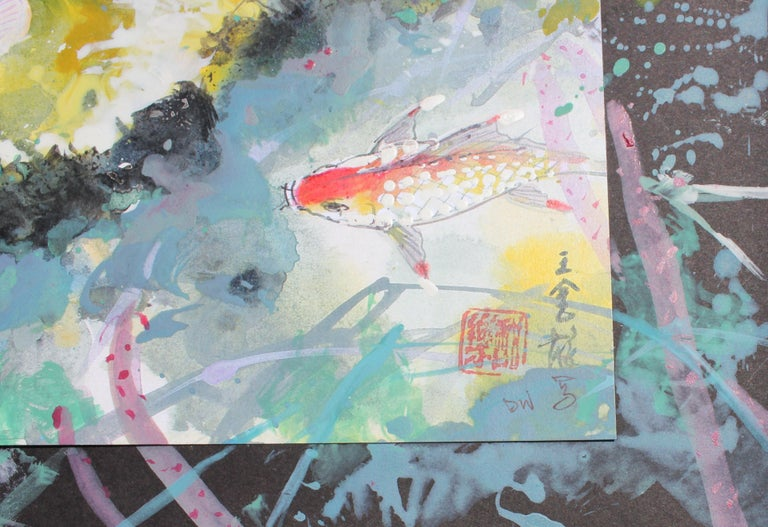 Colorful Mixed Media Koi Fish - Contemporary Painting by David P. H. Wong