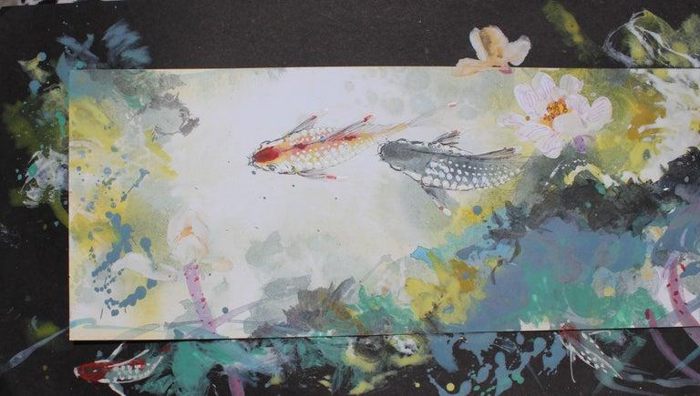 Colorful Mixed Media Koi Fish - Gray Animal Painting by David P. H. Wong