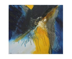 Yellow and Blue Tonal Abstract Painting in the style of Helen Frankenthaler