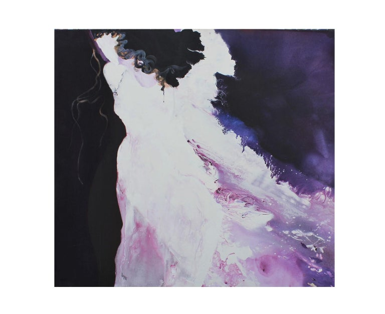 """Purple expressionist painting of a female figure in a white dress. The painting is a part of the series titled """"The Venetian Series Portal VI."""" The painting is signed by the artist on the bottom left corner, as well as titled, dated and signed on"""
