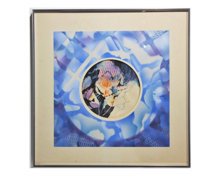 """Arthur Turner Abstract Drawing - """"Circle, Sky and Fire"""" Surrealist Abstract Watercolor Painting"""