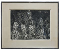 Surrealist Crowed of Figures in Black and White Edition 4 of 4