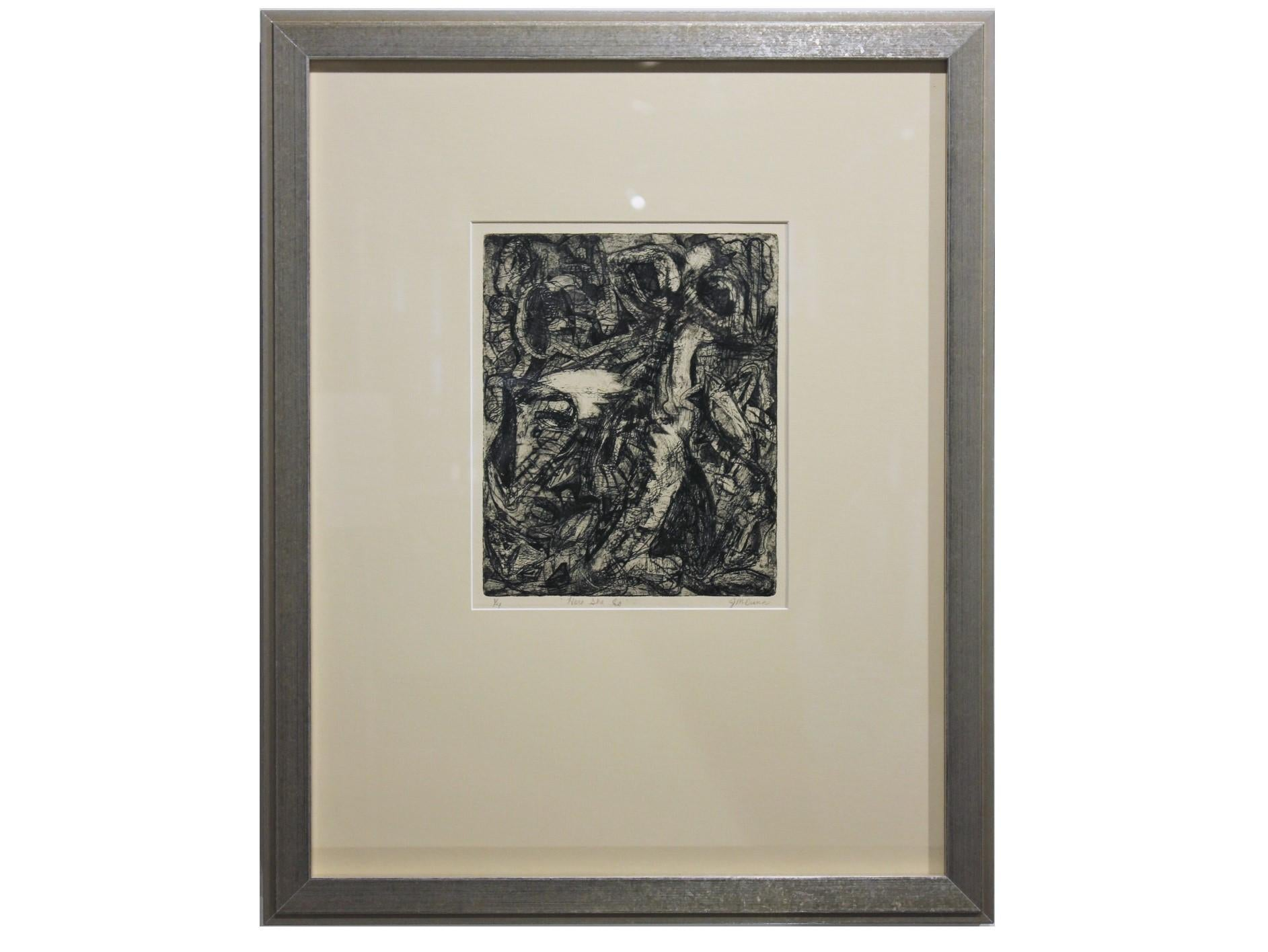 """""""Here She Is"""" Black and White Abstract Lithograph Edition 1 of 4"""