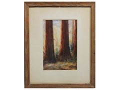 Early Watercolor Painting of Redwood Forest in California