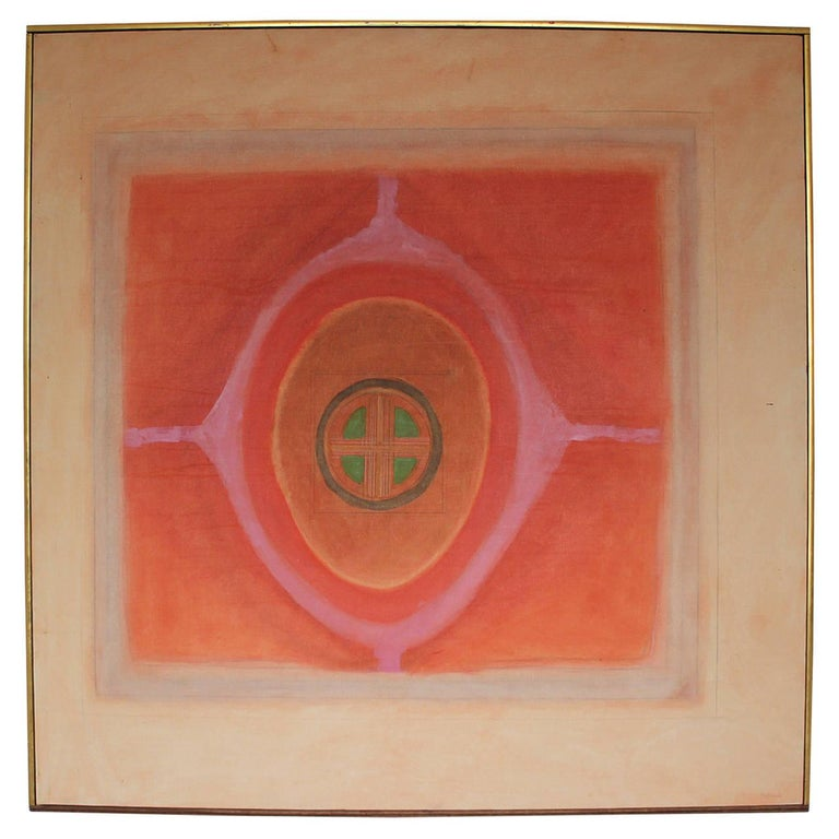 Ida Kohlmeyer Abstract Painting - Abstract Red Geometric with Green Hits