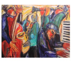 """Jazz Improve with Piano Man"" Impressionist Warm Toned Painting"