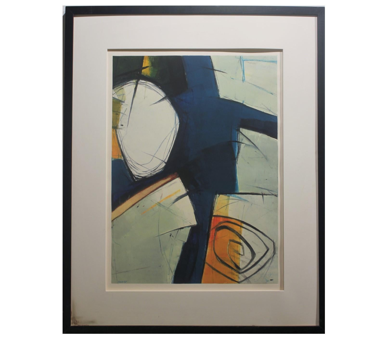 Abstract Expressionist Orange and Blue Toned Monotype Print