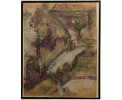 """Maidu"" Purple and Grey Abstract Drawing"