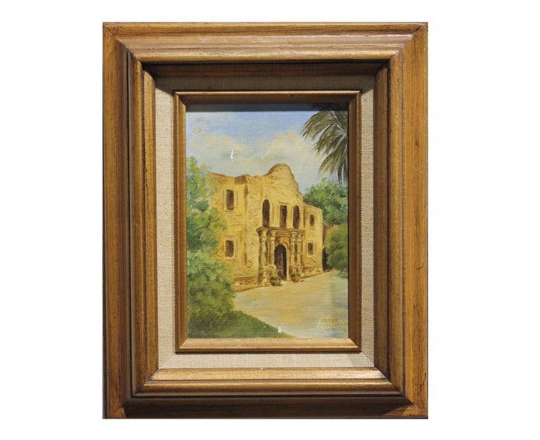 "Gene Anderson Woods Landscape Painting - ""The Alamo"" Portrait of the Famous Texas Monument in San Antonio"