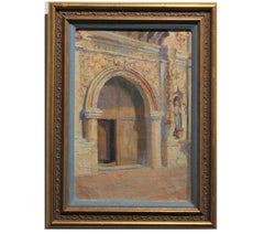 Pastel Colored Architectural Abstract Painting of a Chapel Entrance