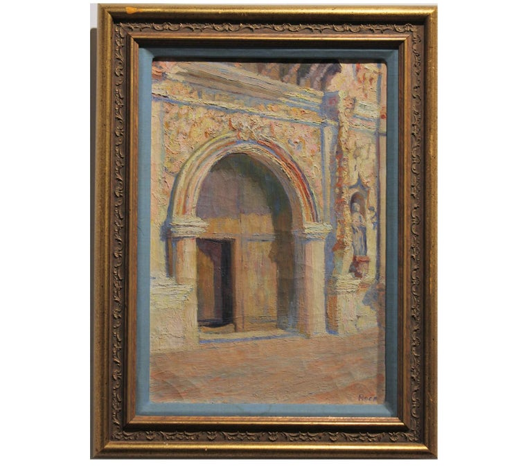 Roca Landscape Painting - Pastel Colored Architectural Abstract Painting of a Chapel Entrance