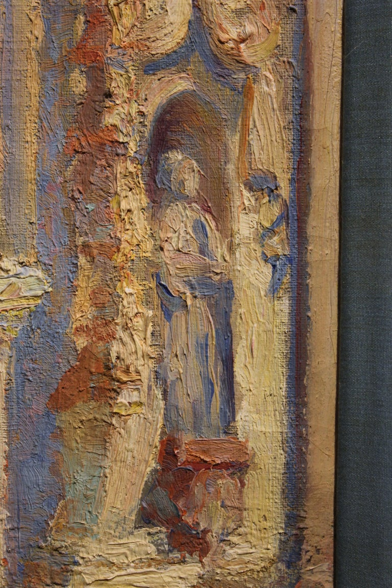 Pastel Colored Architectural Abstract Painting of a Chapel Entrance  - Brown Landscape Painting by Roca