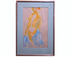 Standing Female Nude Study in Pastel