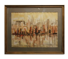 """Cityscape"" in Warm Tones with a Reflecting Pool"